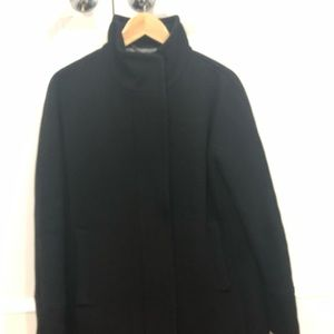 JCrew Black Wool Stadium Cloth Coat